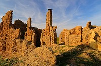 Construction of adobe ruins, Cáceres province, Extremadura, Spain