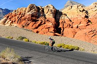 Bicyclist Red Rock Canyon Conservation Area Las Vegas Nevada