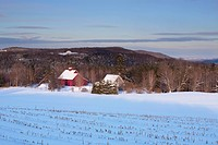 A Red Barn Shed And Field Covered In Snow In The Winter, North Hatley Quebec Canada