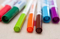 Colourful colouring pens macro close up