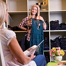 mother and daughter shopping for clothes at a boutique, edmonton, alberta, canada