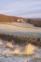 Drystone wall and frosted grasses, with remains of 15th Century hunting lodge in distance, Barden Tower, Barden, Wharfedale, Yorkshire Dales N P , Nor...