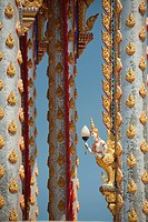 ornate temple pillars, prachuap kiri khan prachuap province thailand