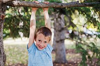 young boy hanging from a tree limb in a park in autumn, edmonton alberta canada