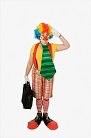Person wearing a clown costume