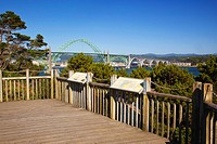 Yaquina Bay Bridge Viewed From A Lookout, Newport Oregon United States Of America