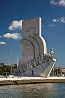 monument of the discoveries on the shore of tagus river, lisbon, portugal