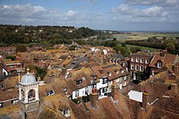 high angle view of houses and fields surrounding river rother, rye sussex england