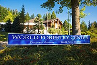 a sign for the world forestry center, portland oregon united states of america