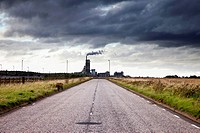 a cement production plant at the end of a road, lothian scotland