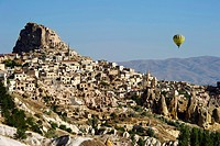 Turkey, Central Anatolia, Cappadocia listed as World Heritage by UNESCO, Uchisar, tuff hills and cave dwellings