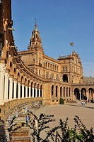 Spain, Andalusia, Sevilla, Parque de Maria Luisa, Plaza de Espana Spain Square built for the 1929 Universal Exhibition where Star Wars Episode II : At...
