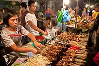 Philippines, Luzon island, La Union, San Fernando, food market at night, kebab stall