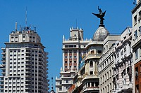 Spain, Madrid, calle Gran Via near plaza de Espaa, on the left Madrid Tower