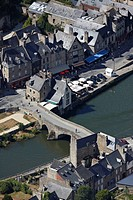 France, Cotes d´Armor, Dinan, the harbour on the Rance River banks aerial view