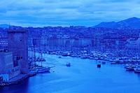 France, Bouches du Rhone, Marseille, 1st arrondissement, entered the Vieux Port and Tower Fort St. Jean