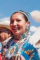 Young Blackfoot girl in traditional regalia, Siksika Nation Pow-wow, Gleichen, Alberta, Canada