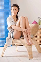 Portrait of a woman with beautiful legs
