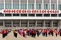 North Korea, Pyongyang, indoor stadium, North Korean boys rehearsing for the Mass Games in front of Pyongyang indoor stadium