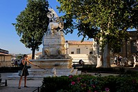 France, Herault, Montpellier, historical center, the Ecusson, the fountain with unicorns in the garden of the Canourgue square