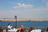 Turkey, Istanbul, historical centre listed as World Heritage by UNESCO, Sultanahmet district, terrace of the Hotel Seven Hills and the Bosphorus