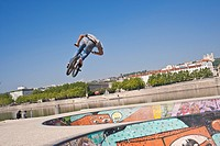France, Rhone, Lyon, the banks of the Rhone river, near the bridge Guillotiere, a large terrace houses two skate bowls built in 2006 by Skateparks Con...