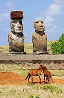 Chile, Easter Island Rapa Nui, site listed as World Heritage by UNESCO, Ahu Tongariki, wild horses in front of the Moai statues