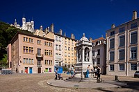 France, Rhone, Lyon, historical site listed as World Heritage by UNESCO, Vieux Lyon Old Town, Saint Jean District, fountain in Place St Jean and view ...
