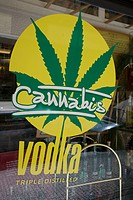 Czech Republic, Prague, historical centre listed as World Heritage by UNESCO, advertissement for a marihuana favoured vodka