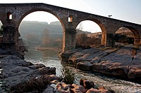 Old Bridge and Cardener river, Romanesque, La Seu, Manresa, Catalonia, Spain