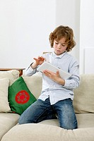 Boy using tablet computer