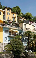 Ochre-coloured Ticinese mansions with view at lake Lago Maggiore, Ronco sopra Ascona, Ticino, Switzerland