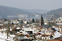 France, Vosges, Gerardmer, the lake and the city fall.