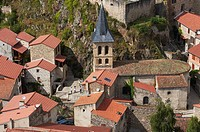 France, Puy de Dome, Saint Floret, labelled Les Plus Beaux Villages de France The Most Beautiful Villages of France, overview of the village,