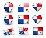 The Panama flag _ set of icons and flags. glossy and matte on a white background.
