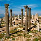 Columns from the Hellenistic and Roman periods at the site of the ancient city of Gadara, in present_day Umm Qais, Jordan.