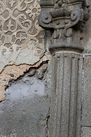 Detail of wall in the Plaza de San Martin, Segovia, Castilla-Leon, Spain