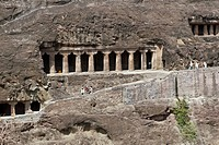 Ancient Buddhist Rock temples at Ajanta in Maharashtra, India