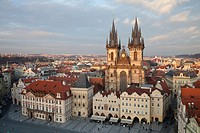 Tyn Church and Old Town Square, Prague, Czech Republic