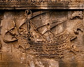 Relief carving of a pinisi a traditional Indonesian two_masted sailing ship at Borobudur, a 9th_century Mahayana Buddhist monument near Magelang, Cent...