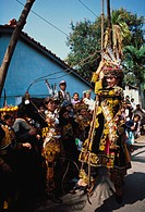 The bride swings, marrying her to the groom, in a traditional aborigine specifically, the Paiwan tribe wedding, Taiwan. Taiwanese aborigines are the i...