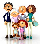 3D family looking happy _ isolated over a white background