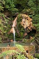 Portugal, Azores islands, Sao Miguel island, caldeira velha, sulfurous hot spring