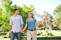 Couple taking a walk in the park together