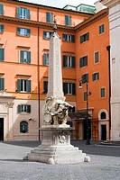 Obelisk in front of the Basilica of Santa Maria sopra Minerva in Palazzo Barberini. Rome, Italy.