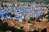 The beautiful city of Jodhpur, often referred to as Blue City because of the hue of its whitewashed houses. Seen from the Mehrangarh Fort. Rajasthan, ...