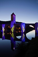 France, Lot, Cahors, Bridge Illumination Valentre