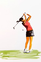 Female golfer at the tee, drawing by the artist Gerhard Kraus, Kriftel, illustration