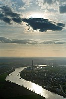 France, Yvelines, chimneys of the power plant Porcheville, along the Seine aerial view