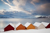 Wooden huts on the Nordfjord, Tromsø or Tromso, Norway, Europe